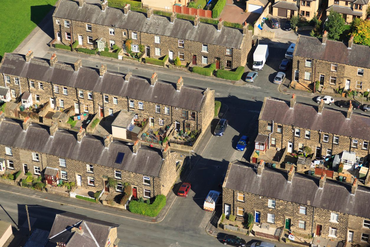 terraced houses from an aerial view